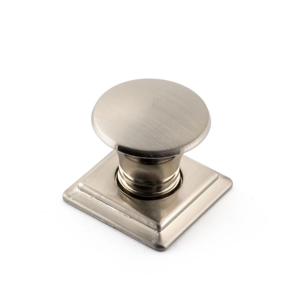 Contemporary Metal Knob - Brushed Nickel - 32 mm Dia.