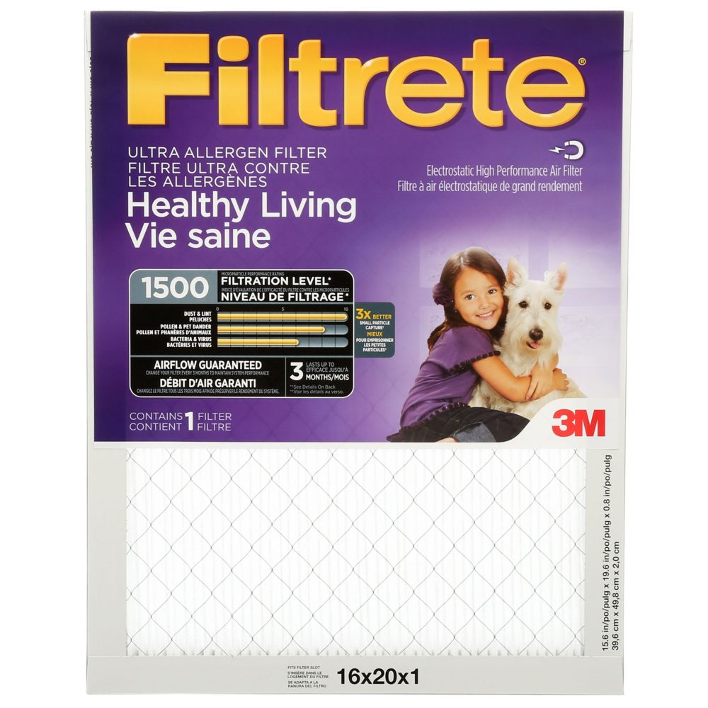 Filtrete Healthy Living Ultra Allergen Furnace Filter, 1500 MPR, 16x20x1,  (2000DC-6C)
