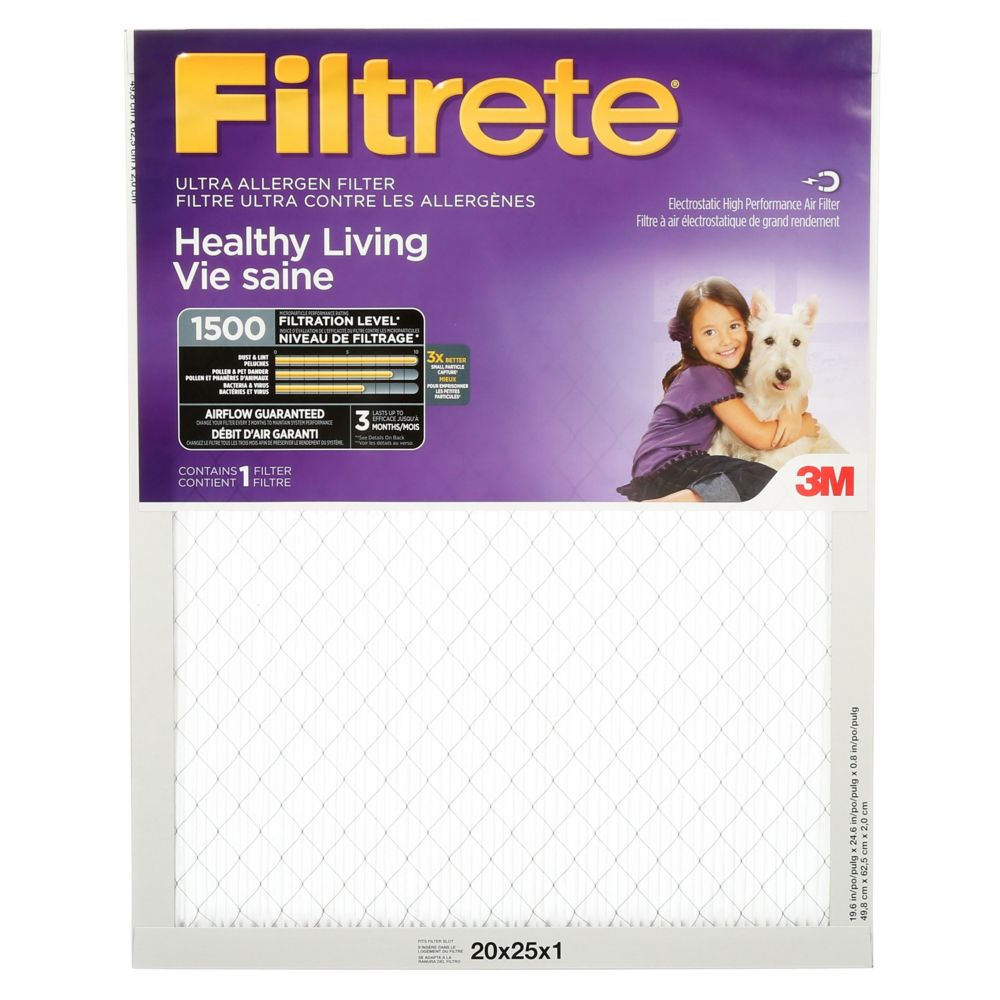 Filtrete Healthy Living Ultra Allergen Furnace Filter, 1500 MPR, 20x25x1,  (2003DC-6C)
