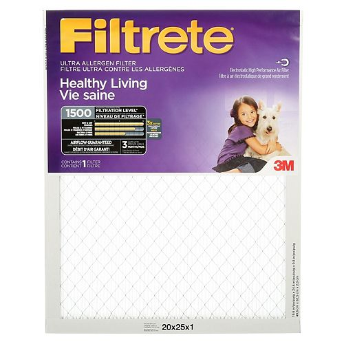 Filtrete Filters 20-inch x 25-inch x 1-inch Healthy Living MPR 1500 Ultra Allergen Filtrete Furnace Filter