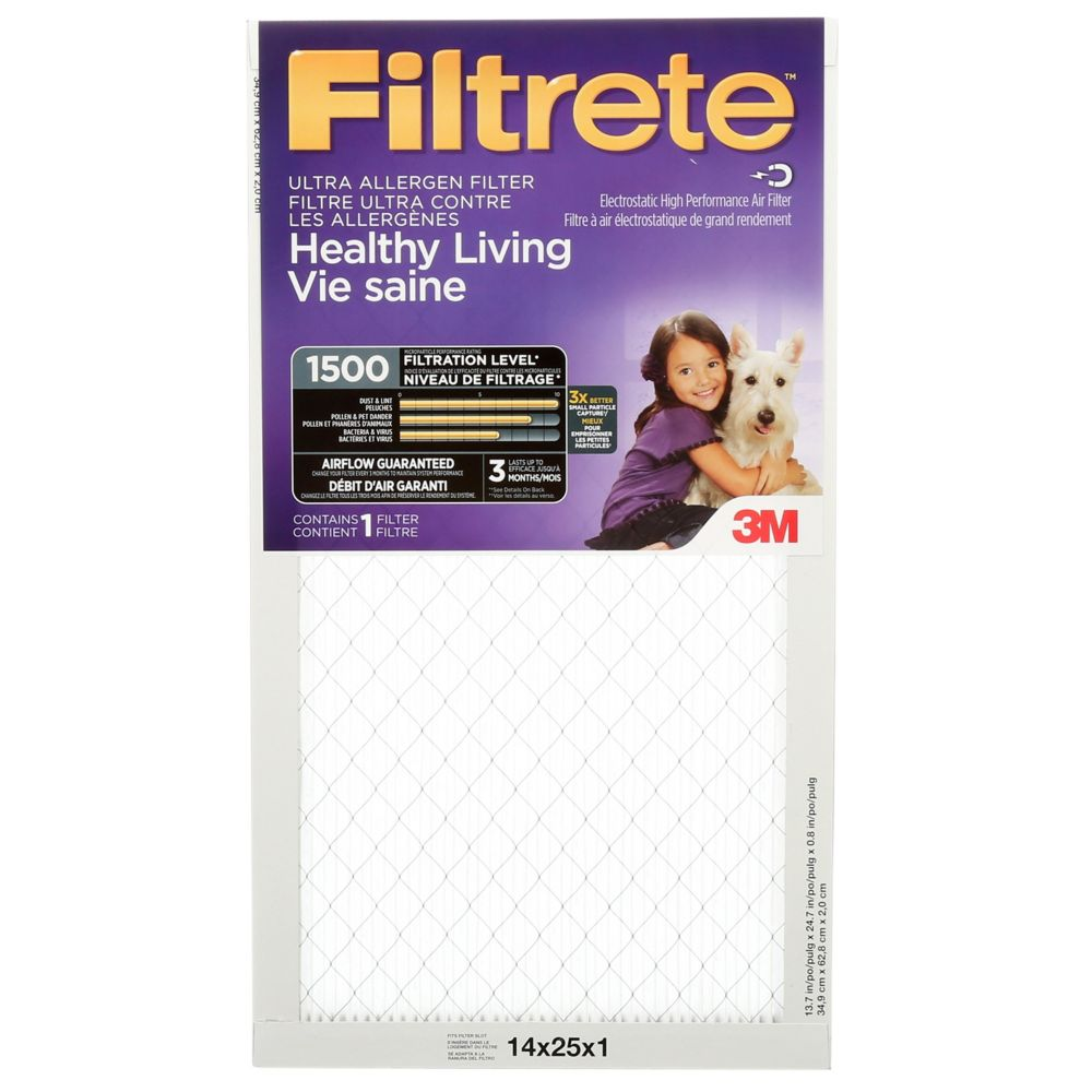 Filtrete Healthy Living Ultra Allergen Furnace Filter, 1500 MPR, 14x25x1,  (2004DC-6C)