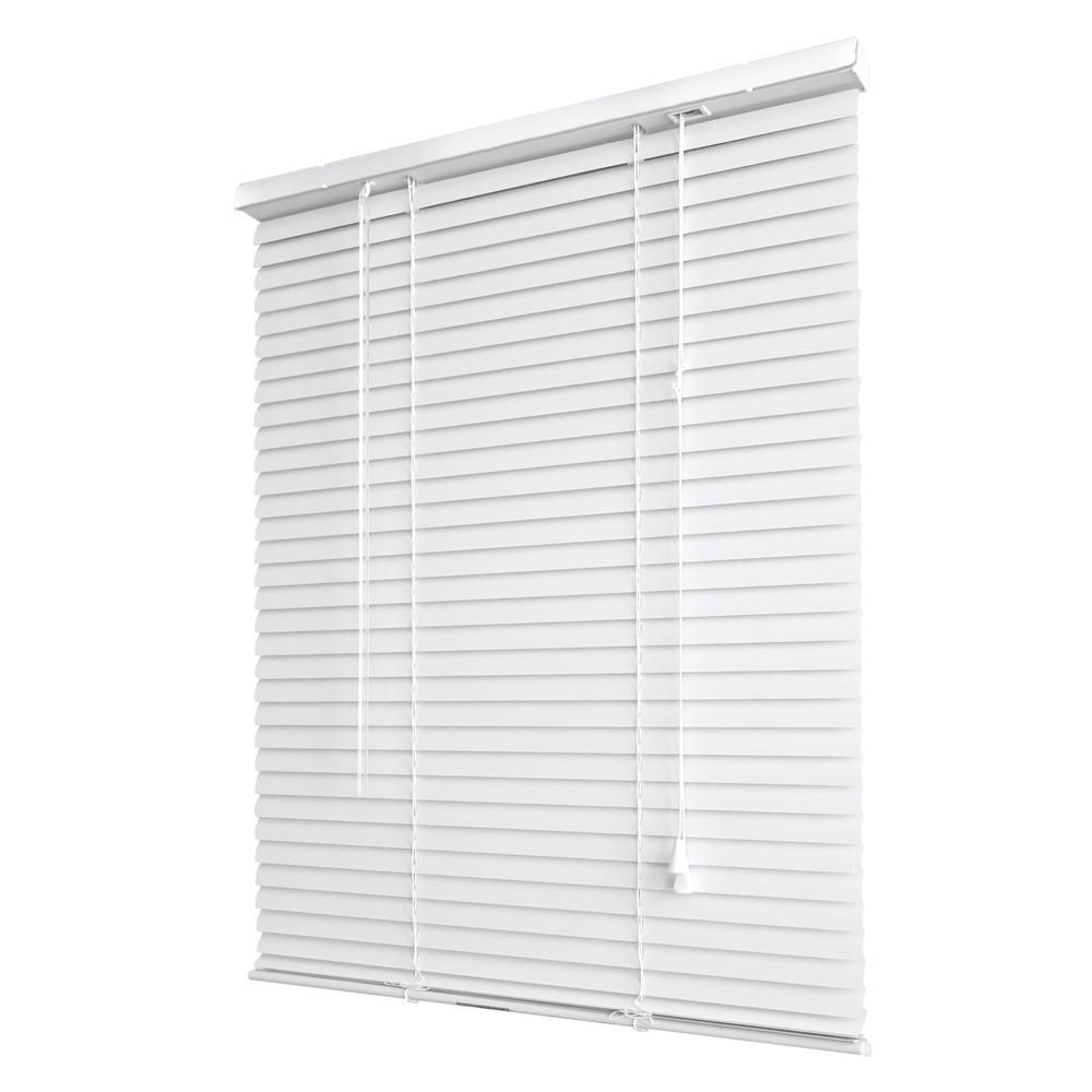 1 Inch Light Filtering Vinyl Mini Blind, White - 36 Inch x 45 Inch