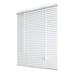 THD 1 Inch Light Filtering Vinyl Mini Blind, White - 31 Inch x 64 Inch
