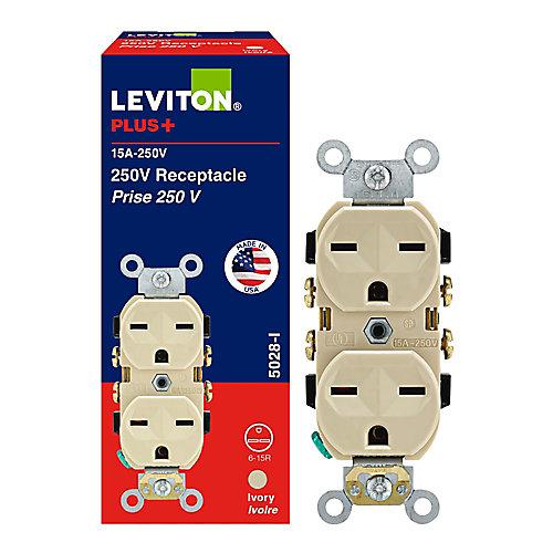 15 Amp 250V Receptacle, Ivory