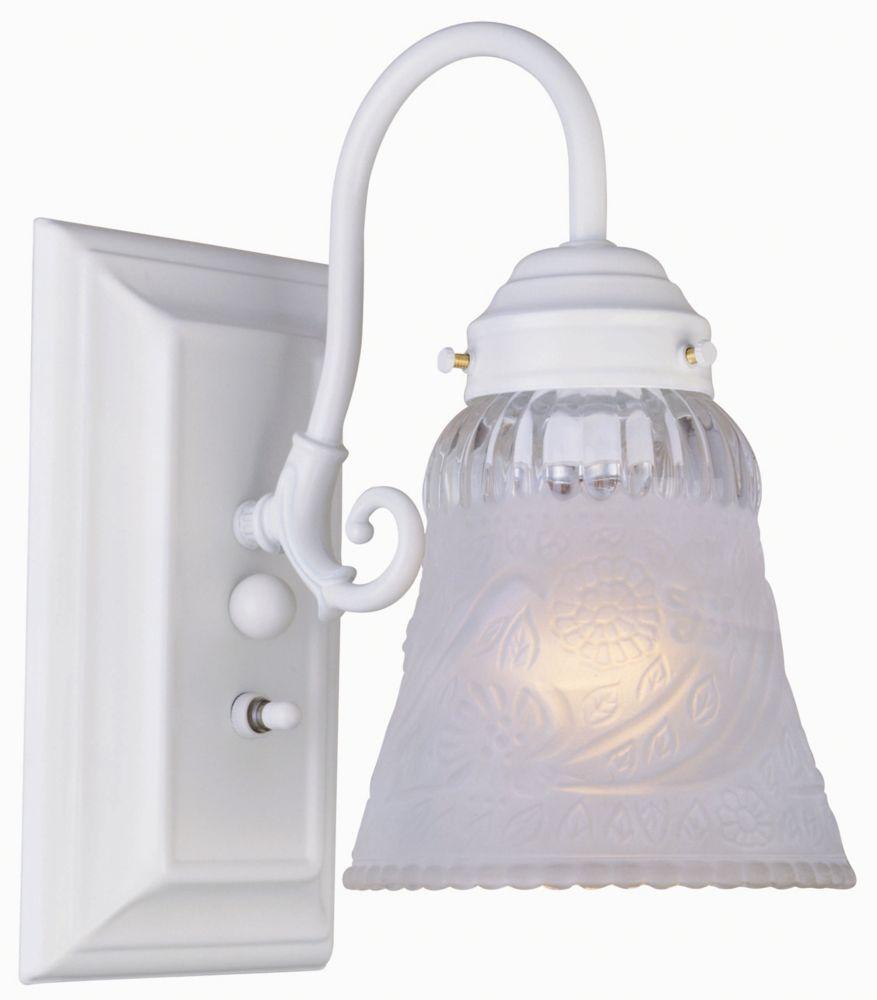 Applique de salle de bain à 1 lumière avec interrupteur, fini blanc