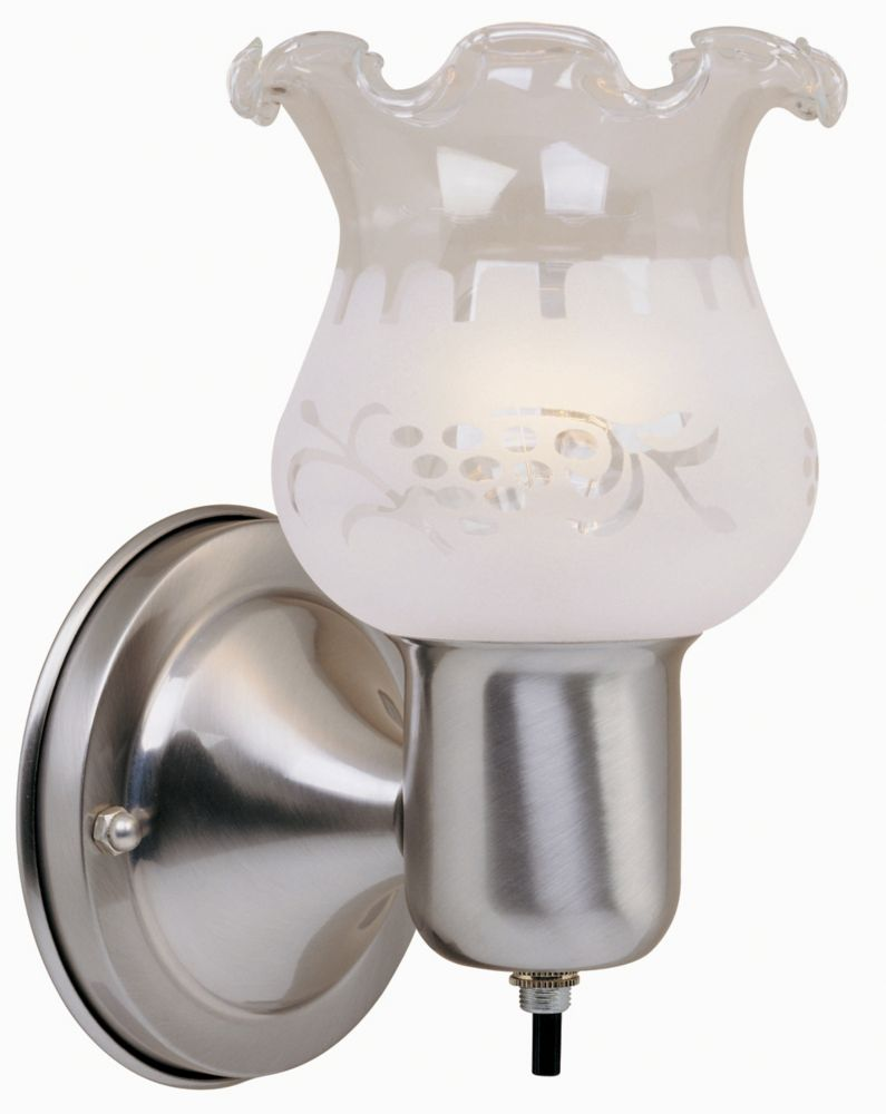 Hampton Bay 1-Light Brushed Nickel Sconce with On/Off Switch and Frosted Glass Shade