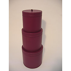 Set of 3 Faux Leather Round Storage Boxes with Lids in Damson