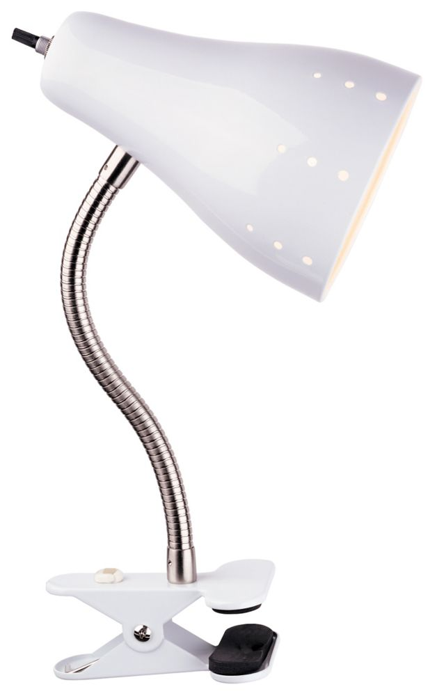 1-Light Clamp Lamp, White Finish