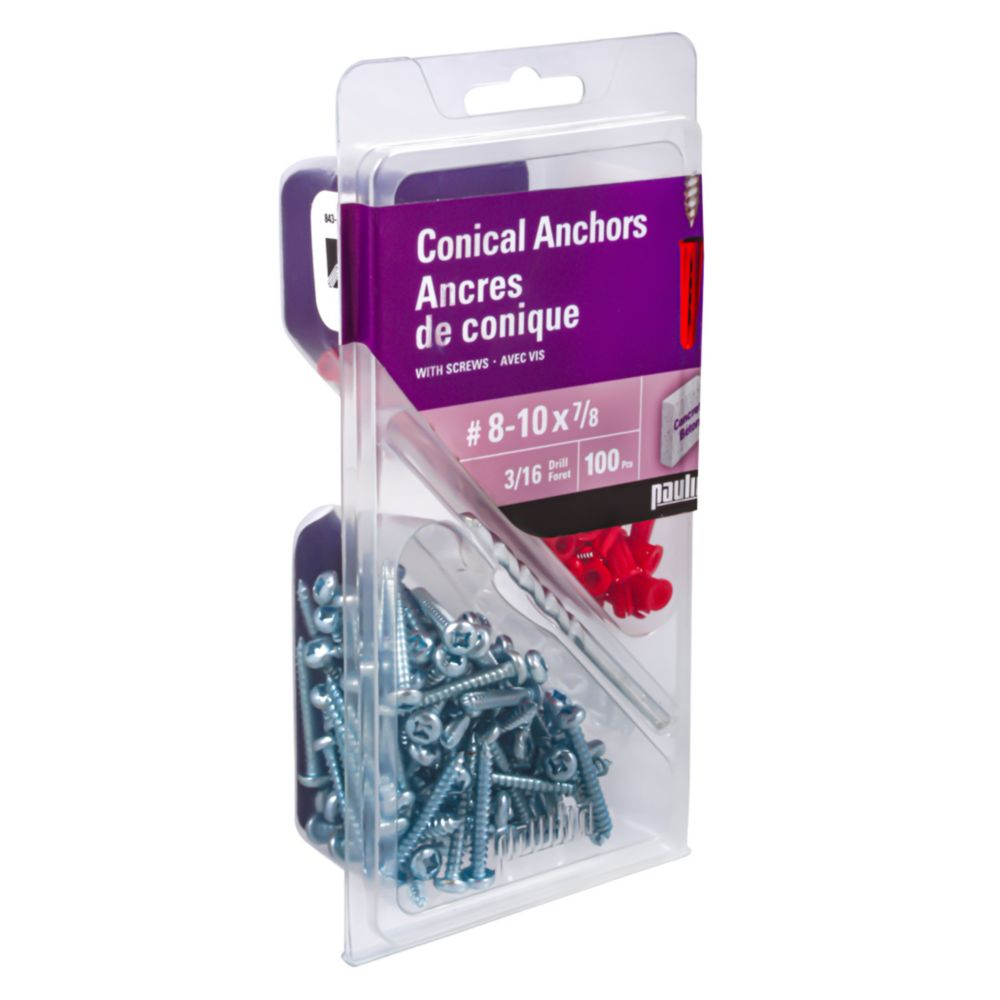 No.8-10 X 7/8 Inch. Plastic Anchor Assorted