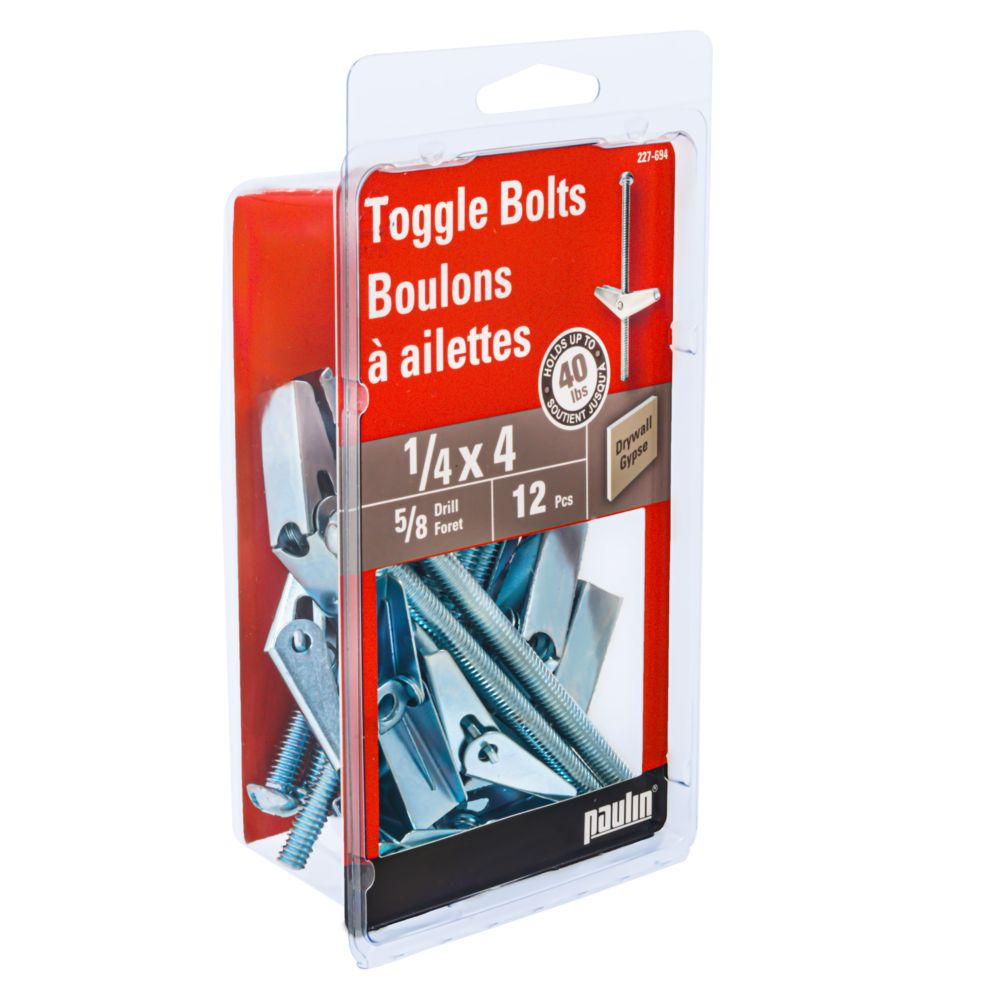 1/4 Inch. X 4 Inch. Toggle Bolts