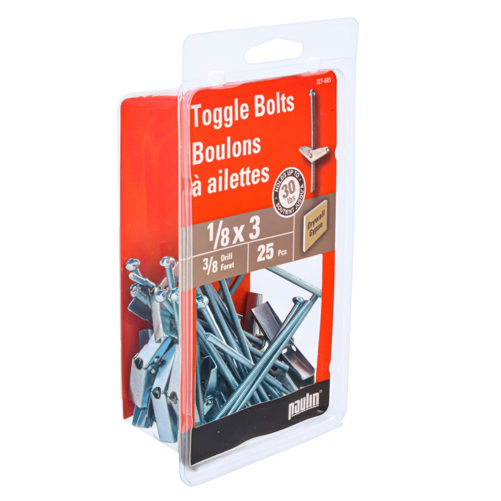 1/8 Inch. X 3 Inch. Toggle Bolts