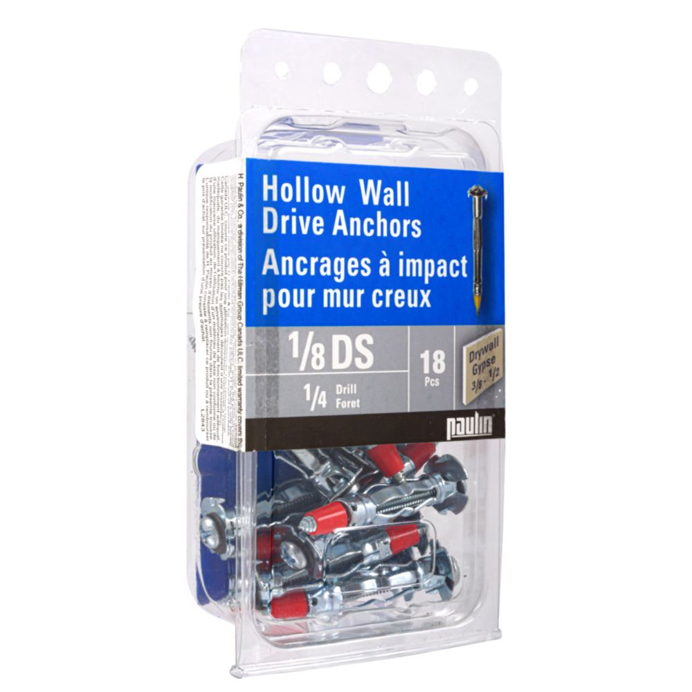 1/8Ds Hollow Wall Anchors 18Pc