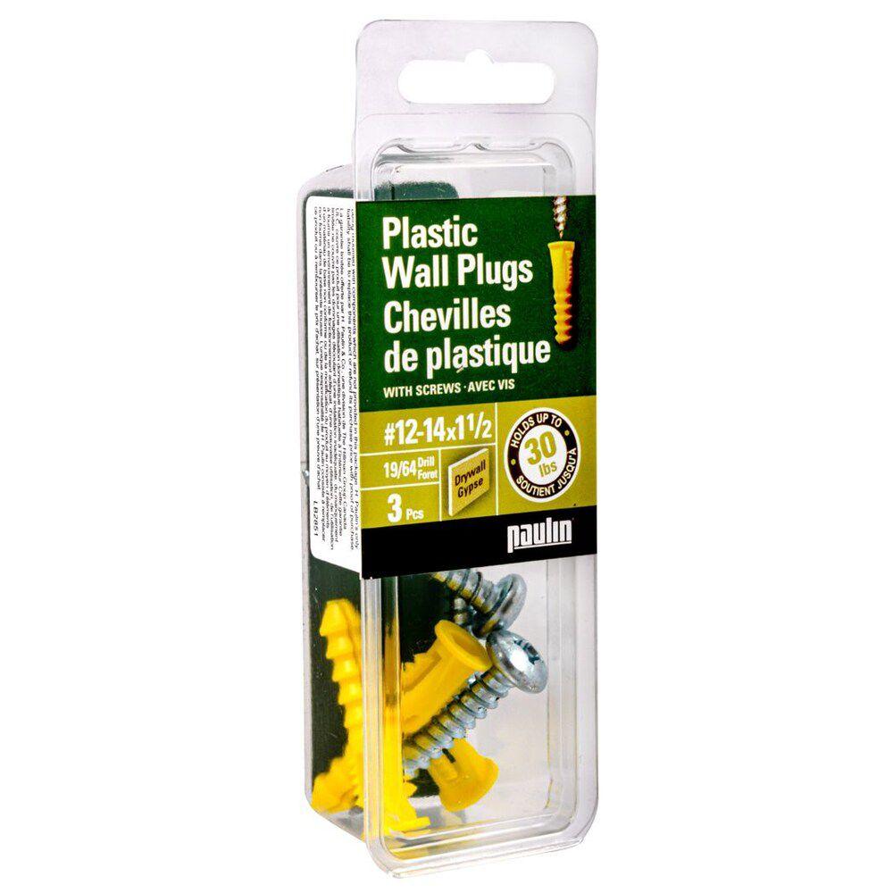 Chevilles de plastique 12-14X1-1/2 avec vis