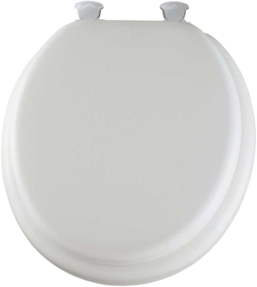 Round Cushioned Vinyl Soft Toilet Seat with Easy Clean & Change Hinge in White