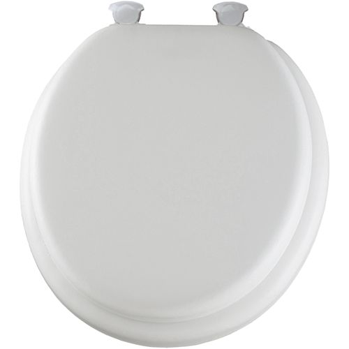 Bemis Round Cushioned Vinyl Toilet Seat with Easy Clean & Change Hinge in White