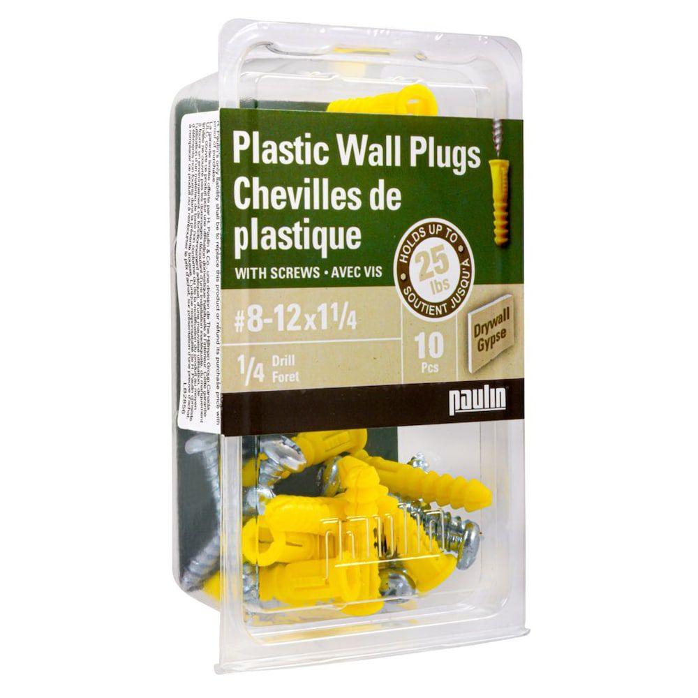 Chevilles de plastique 8-12X1 1/4  avec vis