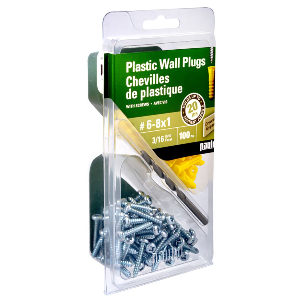Paulin 6-8X3/4 Plastic Anchors with Screws