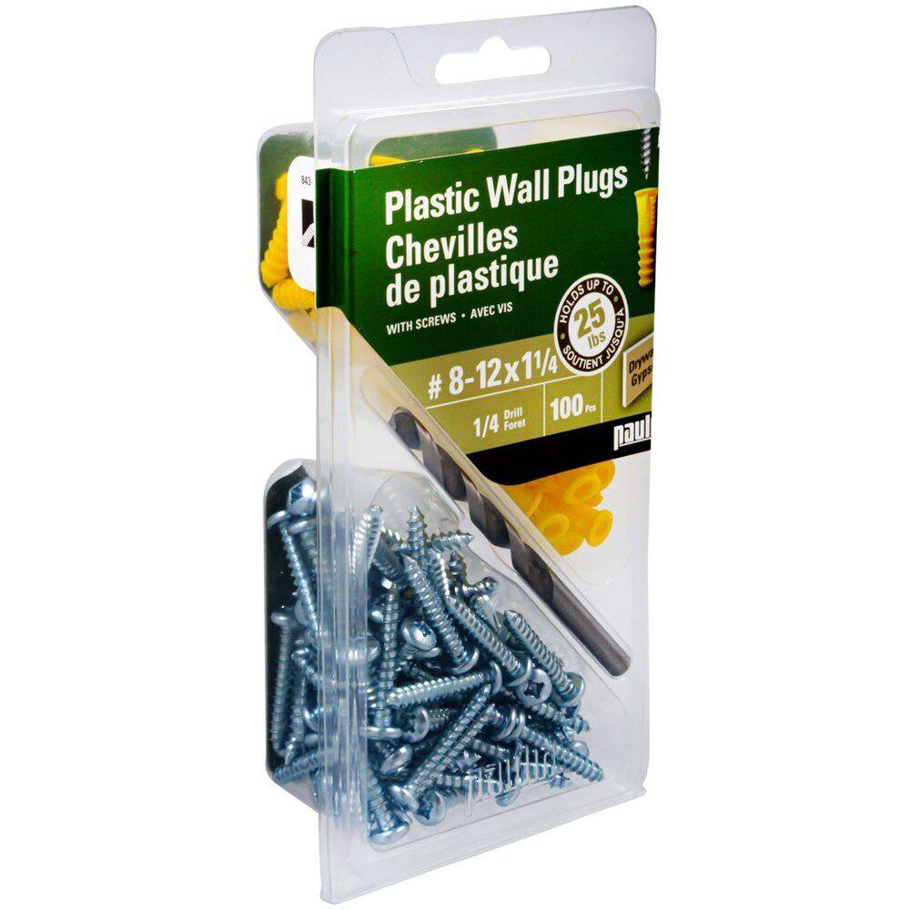 Chevilles de plastique  8-12X1  avec vis