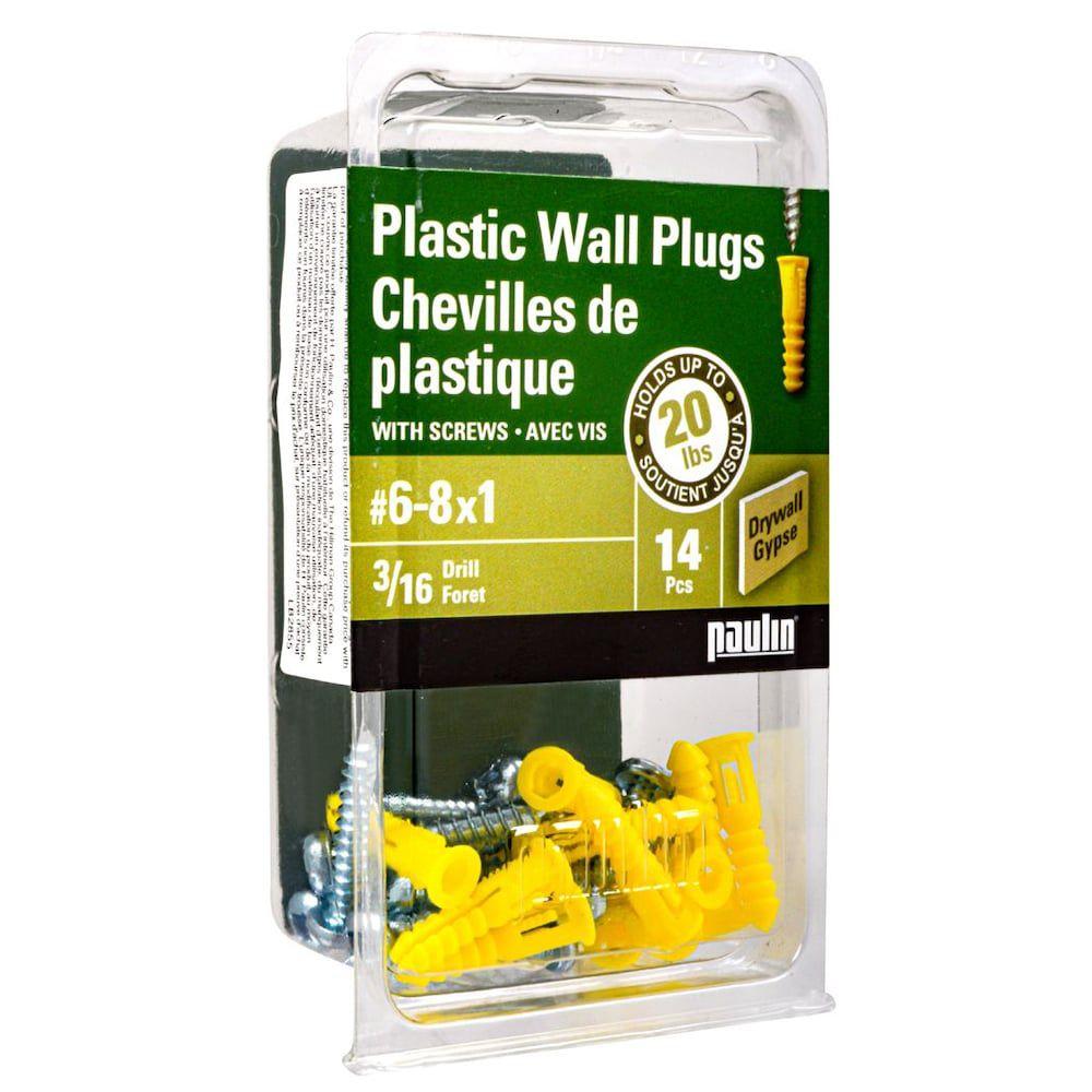 Chevilles de plastique 6-8X3/4 avec vis 14 mcx