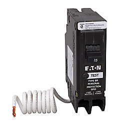 Eaton 15 Amp BR Type 1-Pole GFCI Breaker with Self-Test