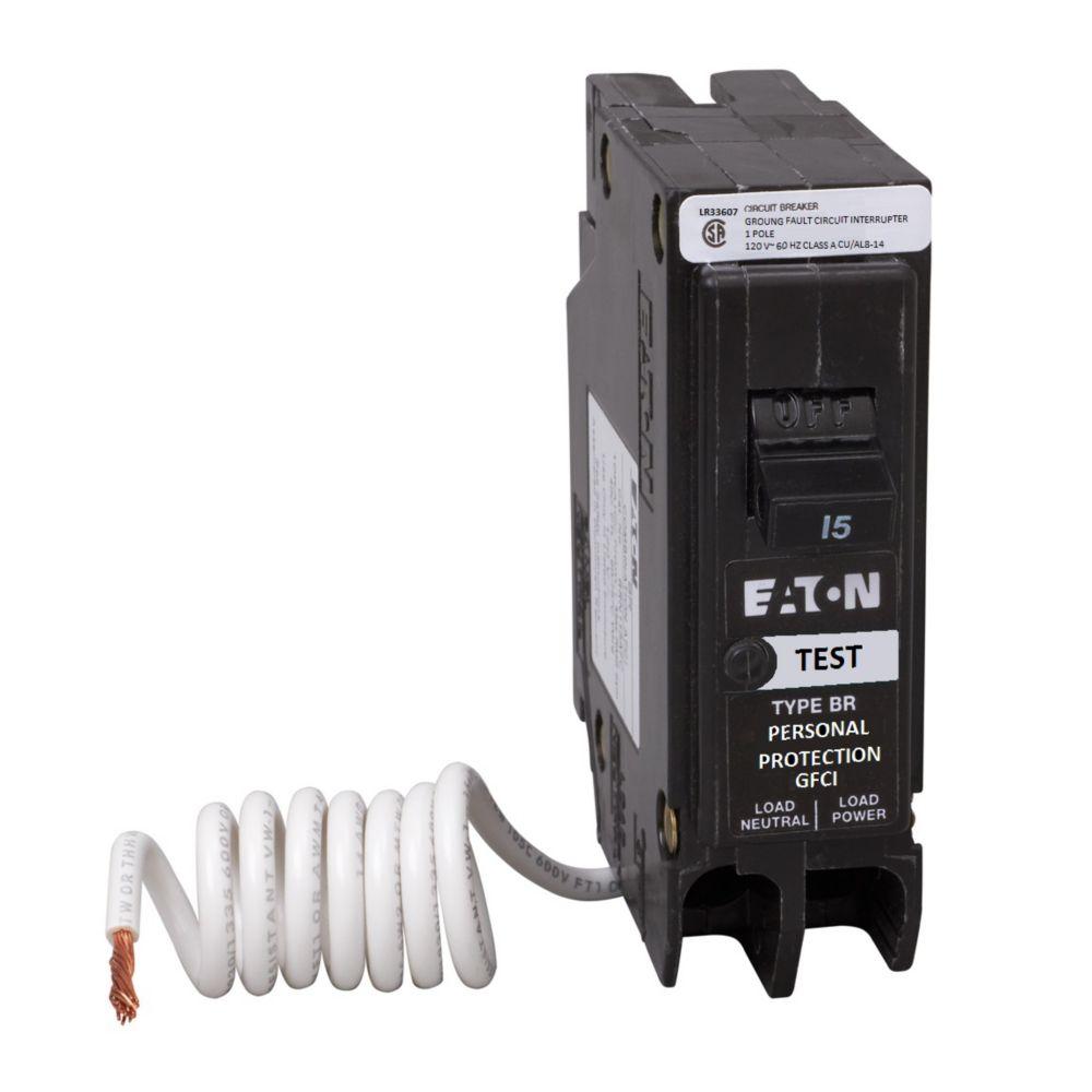 Eaton 15 Amp BR Type 1-Pole GFCI Breaker with Self-Test