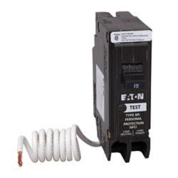 Eaton Disjoncteur GFCI à 1 pôle de type BR de 15 A avec auto-évaluation