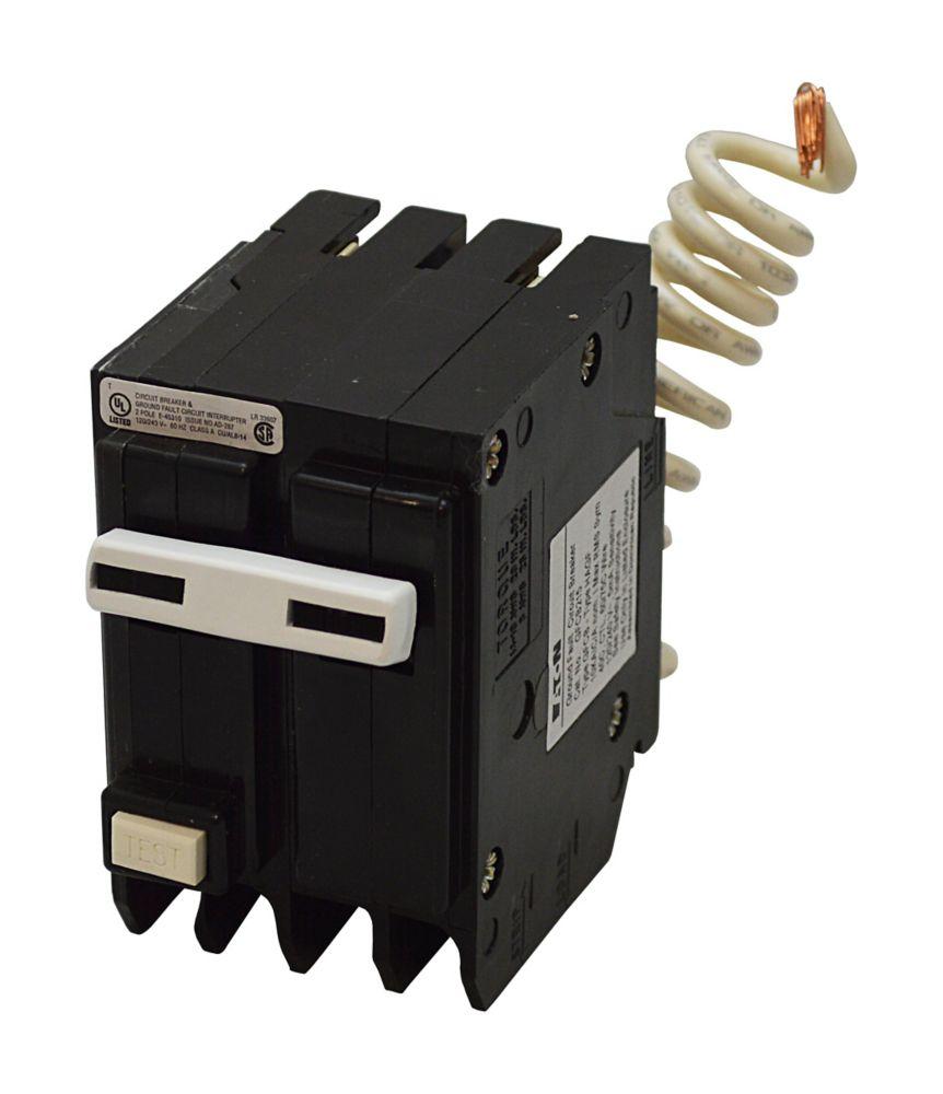 Disjoncteur GFCI à 2 pôles BR de 50 A avec auto-évaluation