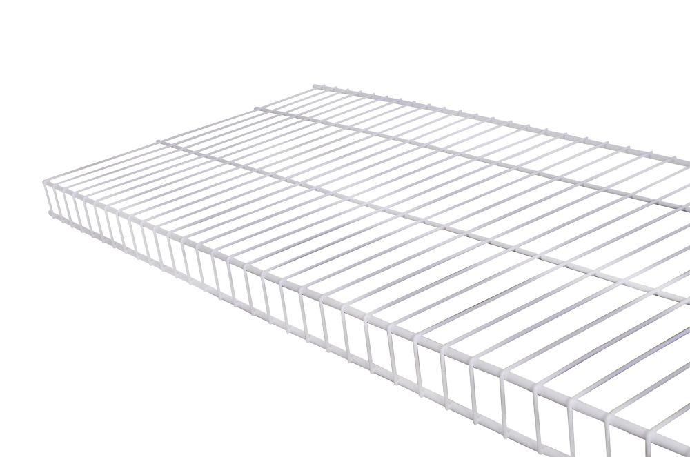 Étagère de type linge de maison en treillis métallique de 16po x 4pi - blanc