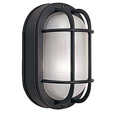 60W 1-Light Black Cast Aluminum 8.5-Inch Oval Bulkhead Outdoor Wall Light
