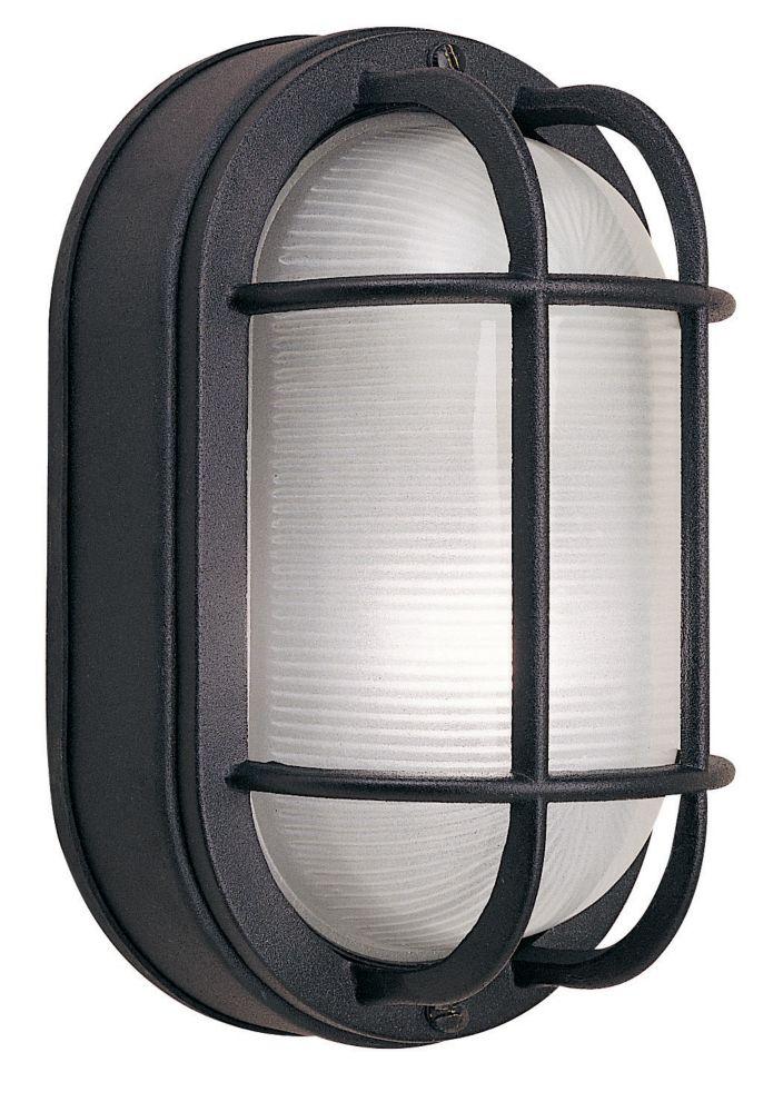 Hampton Bay 60W 1-Light Black Cast Aluminum 8.5-Inch Oval Bulkhead Outdoor Wall Light
