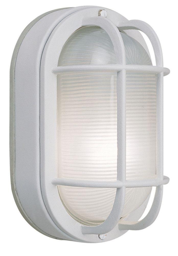 Applique ovale en aluminium moulé de 21,59 cm, fini blanc