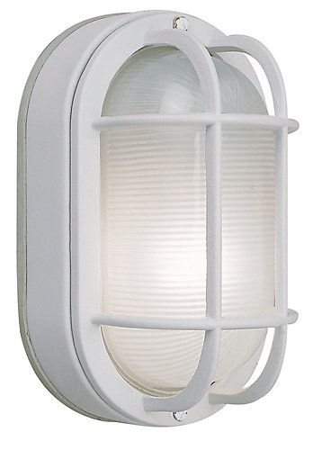 Cast aluminum 8 12 in oval bulkhead white finish hampton bay cast aluminum 8 12 in oval bulkhead white finish the home depot canada aloadofball Image collections