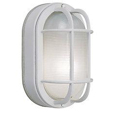60W 1-Light White Cast Aluminum 8.5-Inch Oval Bulkhead Outdoor Wall Light