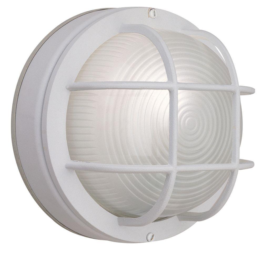 Hampton Bay 60W 1-Light White Cast Aluminum 8-Inch Round Bulkhead Outdoor Wall Light