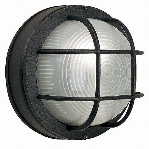 Hampton Bay 60W 1-Light Black Cast Aluminum 8-Inch Round Bulkhead Outdoor Wall Light