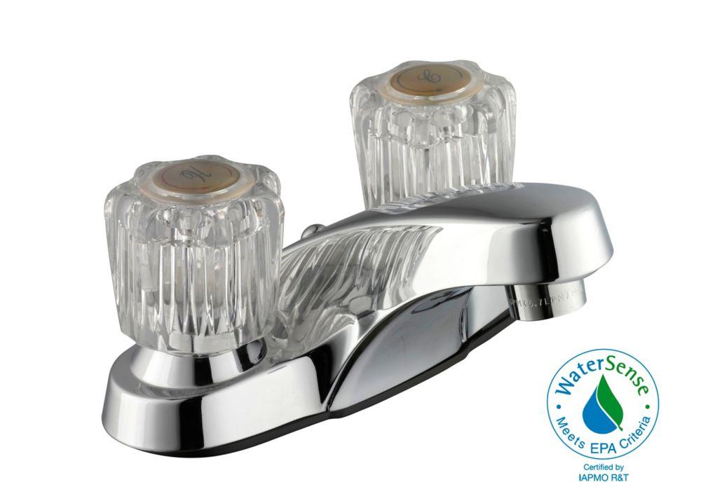 Robinet de baignoire en acrylique à deux poignées de 10,16 cm (4 po) - Chrome