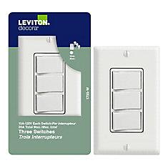 Trois Interrupteurs À Bascule, Blanc
