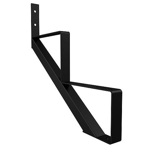 Peak Products 2-Step Steel Stair Riser in Black for Patios and Decks