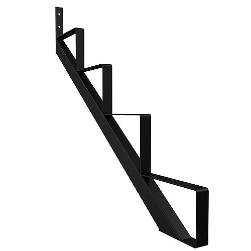 Peak Products 4-Step Steel Stair Riser in Black for Patios and Decks