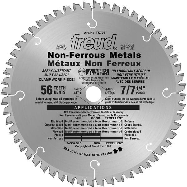 Freud 7.25 In. x 56T Non-Ferrous Metals & Plastics Blade