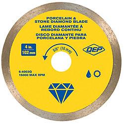 QEP 4 in. Continuous Rim Diamond Blade, 5/8 in. Arbor, Wet Cutting, 15,000 RPM