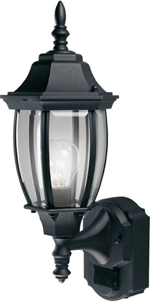 180 Degree Alexandria Lantern with Curved Beveled Glass - Black