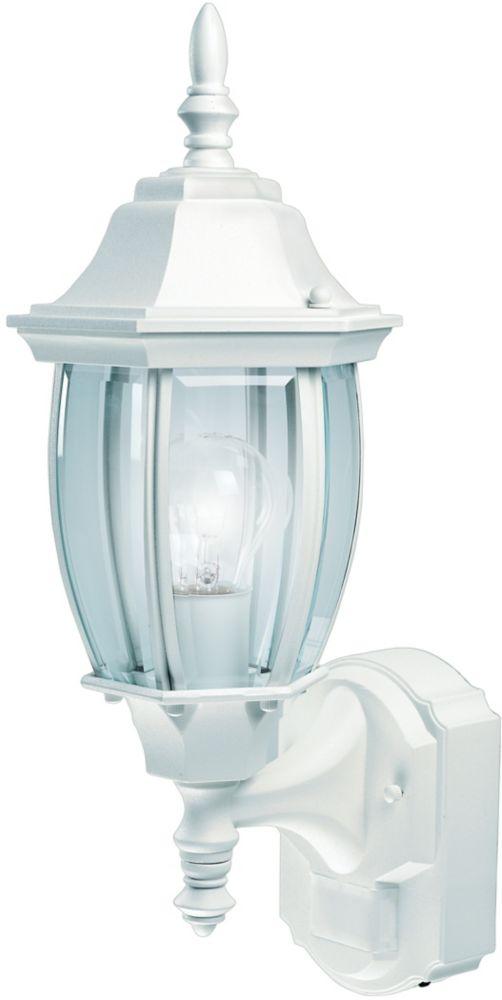 Lanterne de domaine de 180 degrés avec verre courbé biseauté- blanc