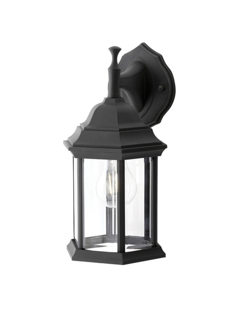 Hampton Bay 100W 1-Light Black Outdoor Wall Lantern with Clear Bevelled Glass