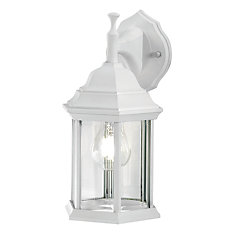 White Exterior Wall Mounted Lantern with Clear Bevelled Glass