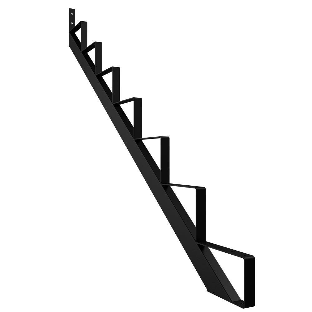 Steel Stair Riser, 7 Step   Black