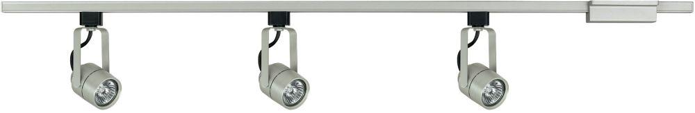 3 éclairages cylindriques trous d'épingle sur rail droit acier brossé