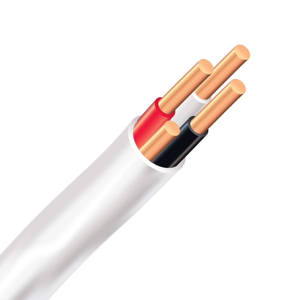Câble électrique � fils cuivre calibre AWG 14/3 - Romex SIMpull NMD90 14/3 blanc - 10M