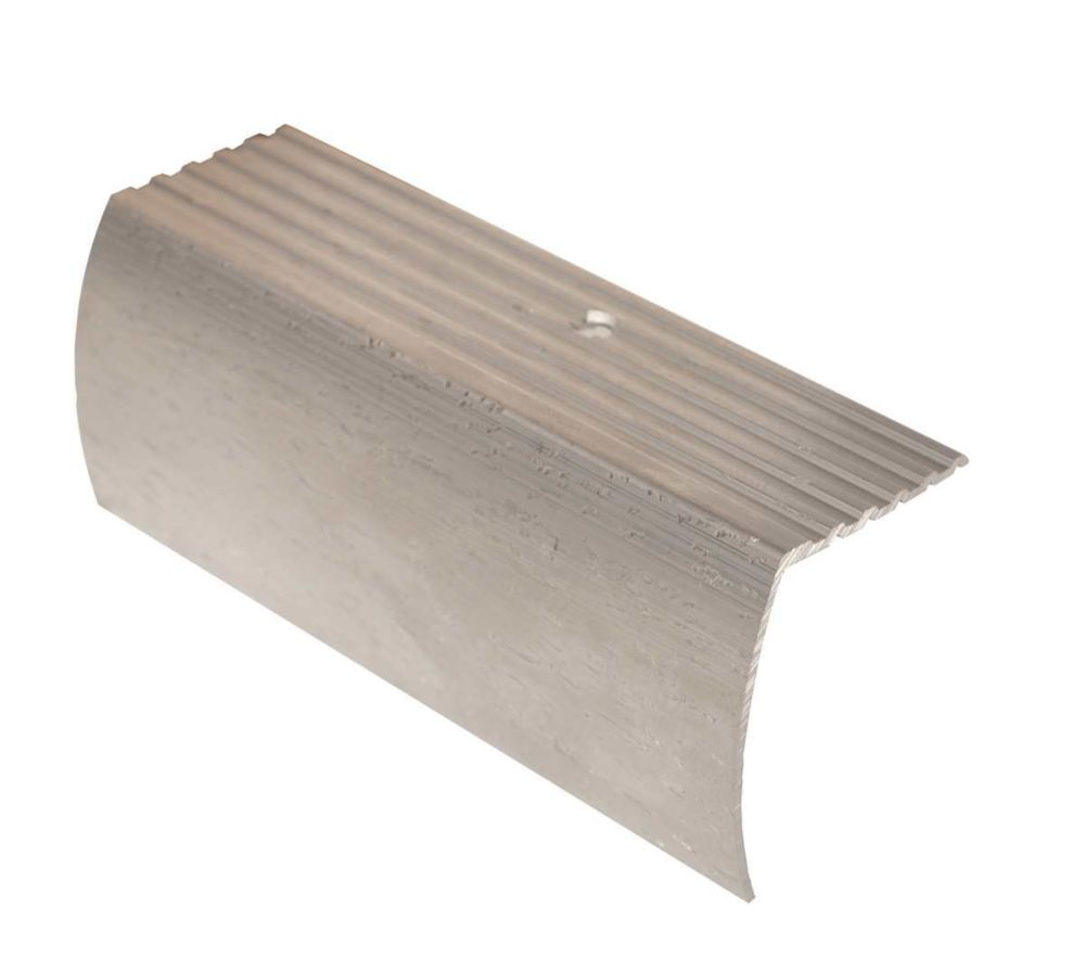 Stair Nosing Floor Moulding, Hammered Silver - 1-5/8 Inch