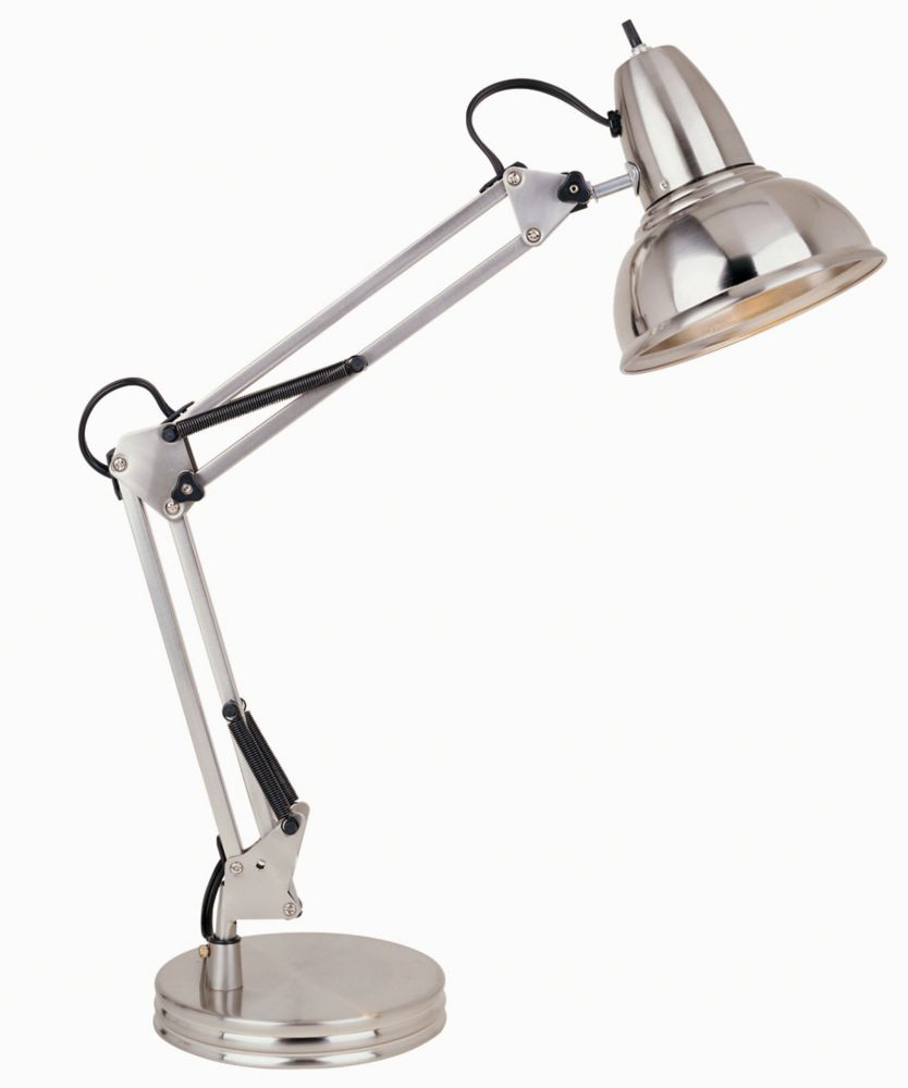Hampton Bay Swing Arm Desk Lamp Satin Chrome Finish
